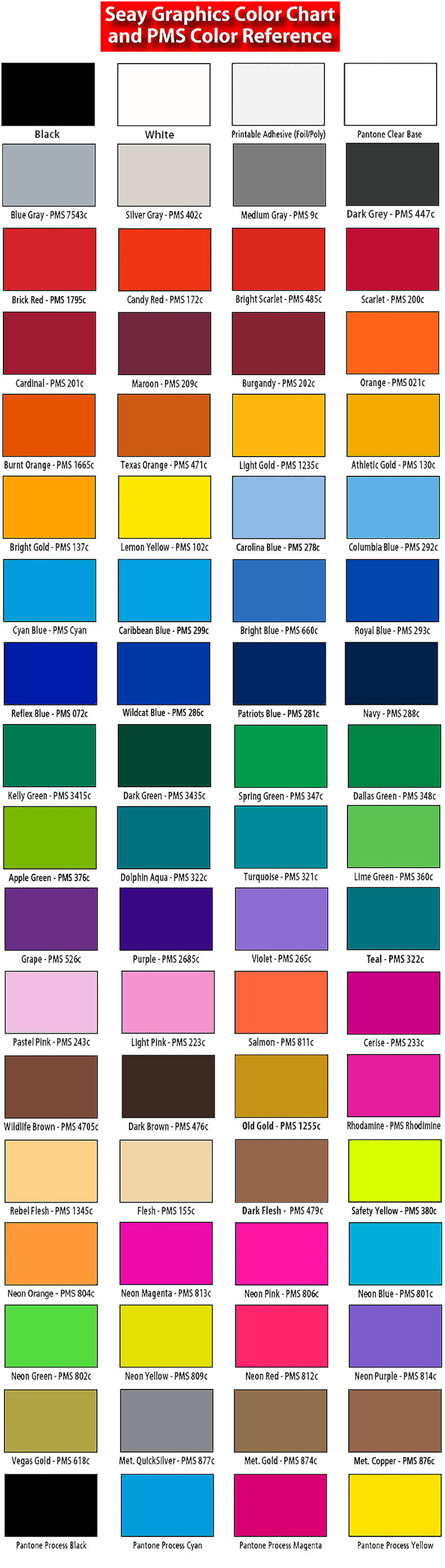 Ink Colors / Pantone Chart